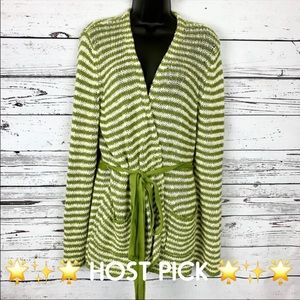 MOTH green cream striped cardigan • Front pockets